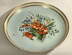 Huge Bing Grondahl porcelain hand painted charger bouquet flowers $95.00