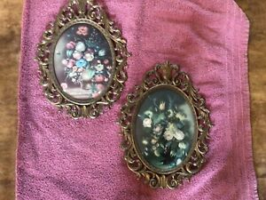 Set Of 2 Vintage Oval Metal Ornate Frames With Floral Pictures In Convex Glass $45.00