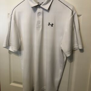 Under Armour Golf Polo Shirt Mens L Heatgear Loose Fit Embroidered White Gray $17.50