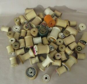 LOT OF 69 VINTAGE EMPTY WOODEN THREAD SPOOLS VARIOUS SIZES $35.00
