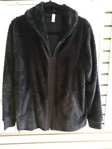 NEW Ideology Women#x27;s Faux Fur Quilted Full Zip Jacket Black Size Small $24.95