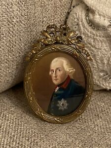 Antique 19th C Portrait Miniature Frederick The Great Of Prussia Empire Frame $235.00