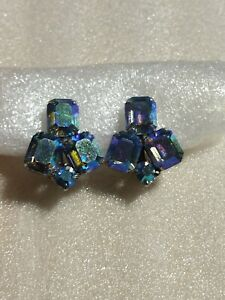 Vintage Signed Weiss Silver Tone BLUE AB Rhinestone Clip On Earrings Dazzle $15.98