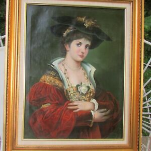 19th century oil painting of Noble Lady after F.A. Kaulbach $585.00