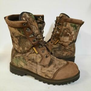 Cabelas Aquashield Camo Hunting Boots Mens Size 10.5 W Lace Up Waterproof Brown