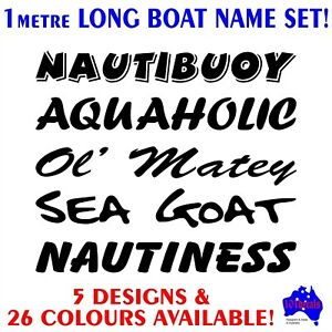 1mtr Tinnyrunaboutcentre console fishing boat funny name decals stickers set!