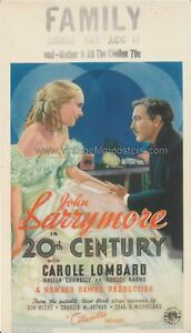 20th CENTURY original 1934 Mini Window Card Carole LOMBARD & John BARRYMORE