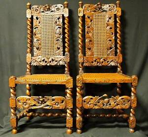 Beautiful Pair of 17th Century Dutch Walnut High Back Cane Chairs Spindle Legs