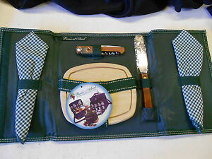 Picnic at Ascot Wine & Cheese Cutting Board, Knife, Napkins, Bottle Tool Set.