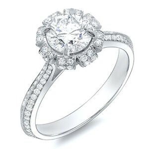 3.82 Ct. Round Cut Floral Design Pave Diamond Platinum Engagement Ring ISI2 GIA