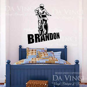 Motocross Motorcycle Racing Bike Wall Room Custom Name Vinyl Wall Decal Sticker