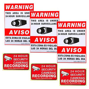 6x Home Surveillance Stickers Warning Decal Signs CCTV Security Camera Video 1RV