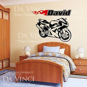 Motorcycle Sportbike Racing Bike Wall Room Custom Name Vinyl Wall Decal Sticker