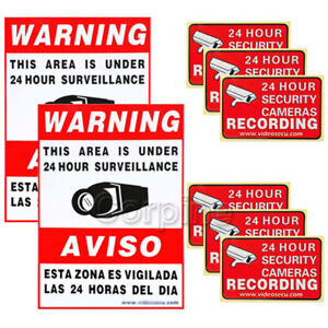 8x Home CCTV Security Camera Video Surveillance Sticker Warning Decal Signs 1rO