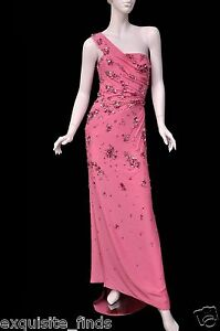 $37425 NEW VERSACE ONE SHOULDER PINK LONG DRESS GOWN WITH CRYSTALS 42