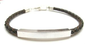 925 sterling silver tube brown leather bracelet bangle braided men mens cuff new