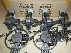 6 New Duke # 1 1 2 Coil Spring Traps 0470 Raccoon Fox Nutria Trapping Muskrat