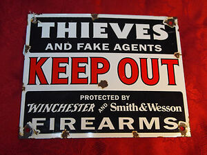 Authentic VINTAGE Winchester Sign - KEEP OUT