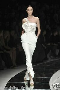 $18125 NEW VERSACE ONE SHOULDER WHITE LONG DRESS GOWN WITH HEART 42 - 6