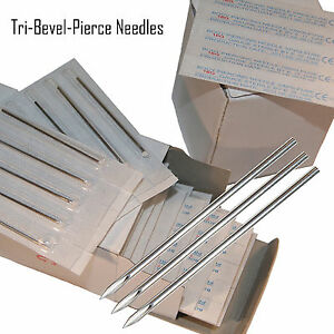 50 Body Piercing Gauge Tri Bevel Pierce Needles $9.50