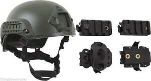 GREEN ABS Plastic Tactical Base Jumping Airsoft Helmet w 4 Helmet Accessories