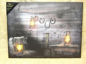 Rusty Lantern Horseshoes Country Lighted Canvas Wall Decor Sign Farm New Barn