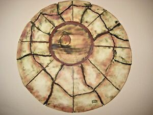New Age Circle of Life in pottery with metal oxide accents wall sculpture