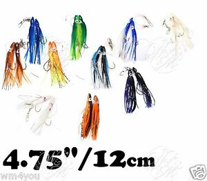 Fishing Rigged 4.75quot; Twin Hoochies Squid Rock Fish Rig Salmon soft Lures lot New
