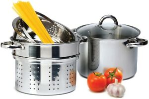 4 Pcs Stainless Steel Pasta Cooker Set 8 qt Stock Pot with Steamer Inserts $31.75