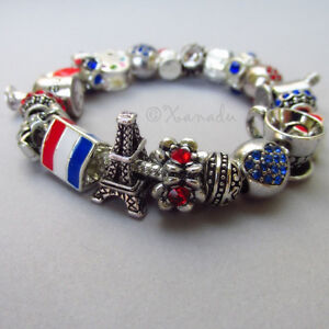 Francophile European Charm Bracelet With Flag Of France And Eiffel Tower Beads