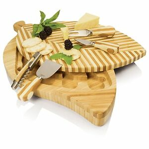 Picnic Time Leaf Cheese Cutting Two-tiered Board with Cheese Tools with Storage