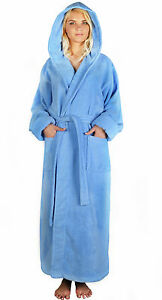 Womens Hooded ZERO TWIST SUPER PLUSH Hooded Long Turkish Cotton Terry Bathrobe