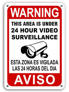 CCTV Warning Home Security Video Surveillance Camera Sign English/Spanish AVISO