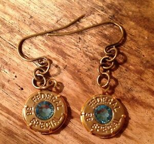 38 Special Bullet Jewelry Hanging Earrings March Birthstone Aquamarine