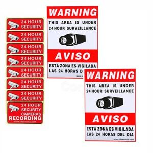 10x Security Warning Sign Sticker Decals for Camera CCTV Home Surveillance WR8