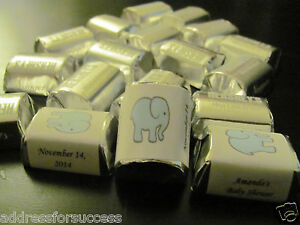 60 Personalized Baby Elephant Baby Shower Candy Hershey Nugget Labels Wrappers $2.99