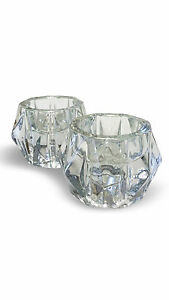 Candle Candlestick Holder Clear Glass 2 Pieces Set Libbey