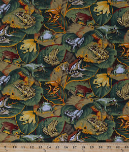 Frogs Toads Leaves Amphibian Jungle Tropical Cotton Fabric Print By Yard D578.19