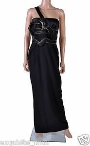$18125 NEW VERSACE ONE SHOULDER BLACK LONG DRESS GOWN WITH HEART 42 - 6