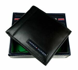 Tommy Hilfiger Men#x27;s Leather Credit Card Wallet Billfold Black 5675 01