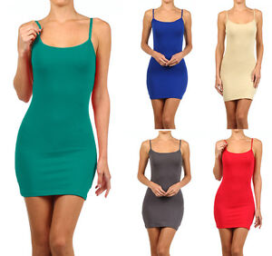 Extra Long Cotton Camisole Dress Tunic Slip Stretch Spaghetti Strap Tank Top $8.95