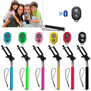 Extendable Handheld Selfie Monopod + Bluetooth Remote Shutter for iPhone Samsung