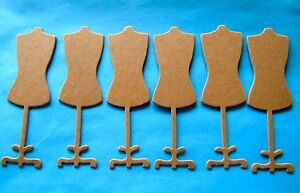 6 Heavy Weight Chipboard Dress Form Die Cuts - Choice of Kraft or White