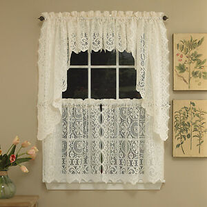 Hopewell Heavy Cream Lace Kitchen Curtain Choice of Tier Valance or Swag $15.99