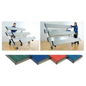 3 Row 21'L Powder Coated Tip n' Roll Bleachers - Seats 42 (4 Color Choices)
