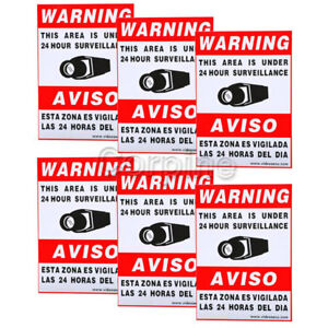 (6) Video Security Camera CCTV Home Surveillance Warning Sticker Sign Decal mhz