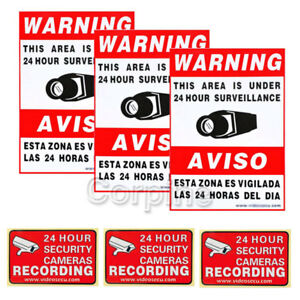 6x CCTV Home Surveillance Security Camera Video Stickers Warning Decal Signs m2y
