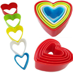 5 Cookie Cutter Biscuit HEART Shape Pastry Plastic Mould Mold Baking Tools Decor