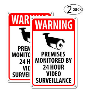 2 Warning Security Cameras In Use Home Video Surveillance cctv Camera Signs