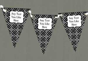 Black And White Personalised Retirement Party Bunting